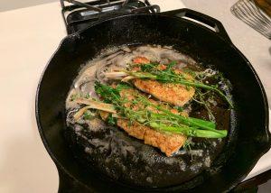 set herbs back on rockfish fillets