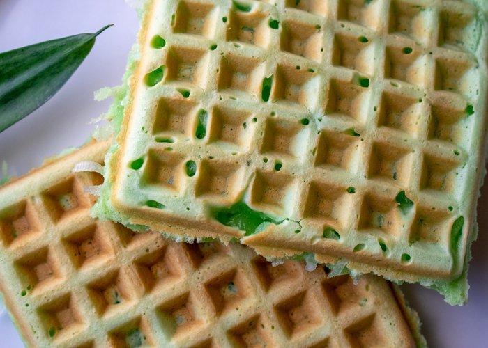 closeup of Vietnamese coconut pandan waffle recipe