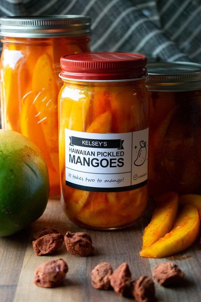 pickled mangos in mason jars