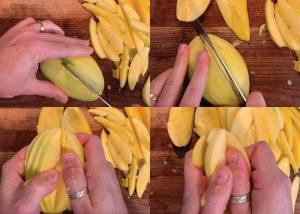 how to slice unripened mangos for pickled mango recipe