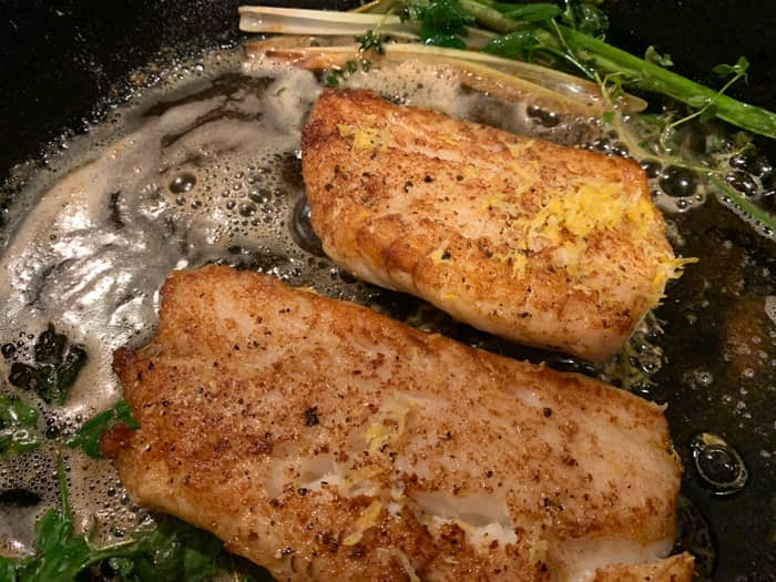 rock fish recipe with lemon zest and fresh herbs