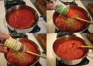 adding tomatoes and spices to low carb tomato sauce recipe